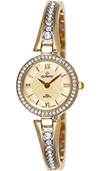 Olympic Ladies Gold Plated Stone Set Watch Gold Dial