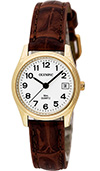 Olympic Ladies Gold Plated Watch and Brown Strap