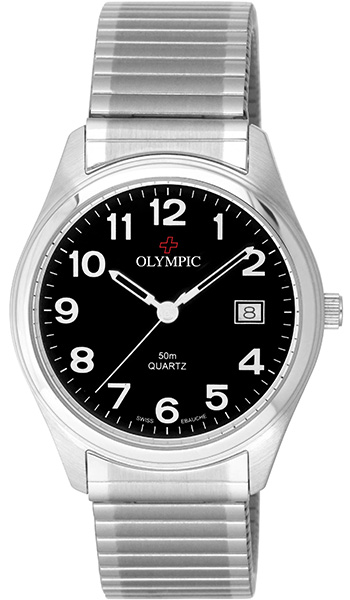 Olympic Gents Steel Classic Watch Black Dial - Click Image to Close