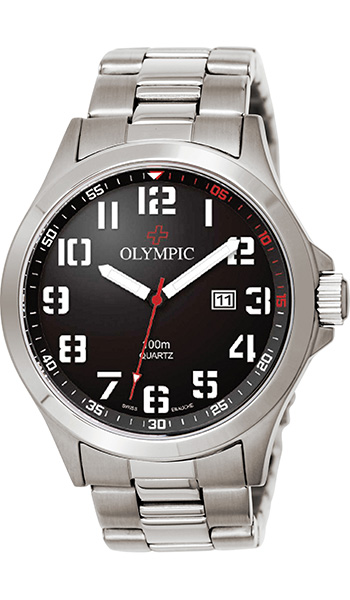 Olympic Gents Sports Watch with Black Dial - Click Image to Close
