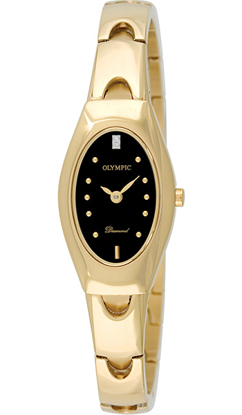 Olympic Ladies Gold Plated Watch with Diamond set dial - Click Image to Close