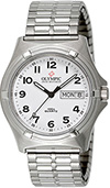 Olympic Mens Work Watch White Dial Numbers and Expanding Band